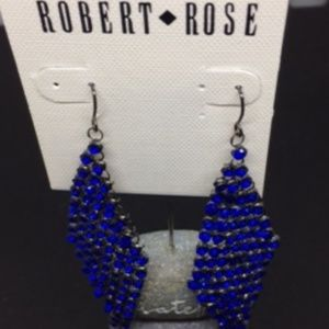 NWT Robert Rose Blue Crystal Chandelier Earrings